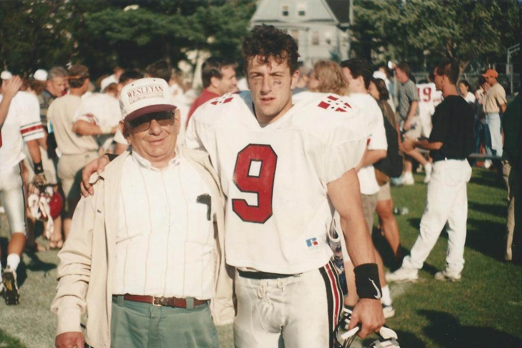 The author with his grandfather after the season opener against Tufts in Medford. My grandpa came to every single game of mine when I was younger, and traveled to as many college games as he could.