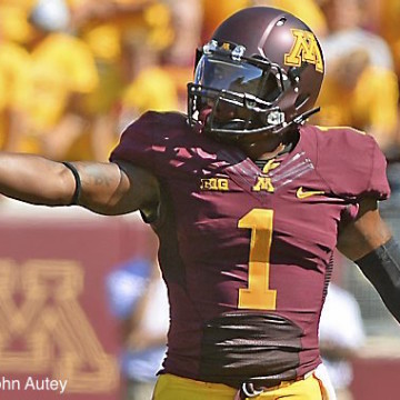 Minnesota junior wide receiver K.J. Maye gets a signal from the sidelines during the first quarter against Middle Tennessee at TCF Bank Stadium in Minneapolis on Saturday, September 6, 2014.  (Pioneer Press: John Autey)